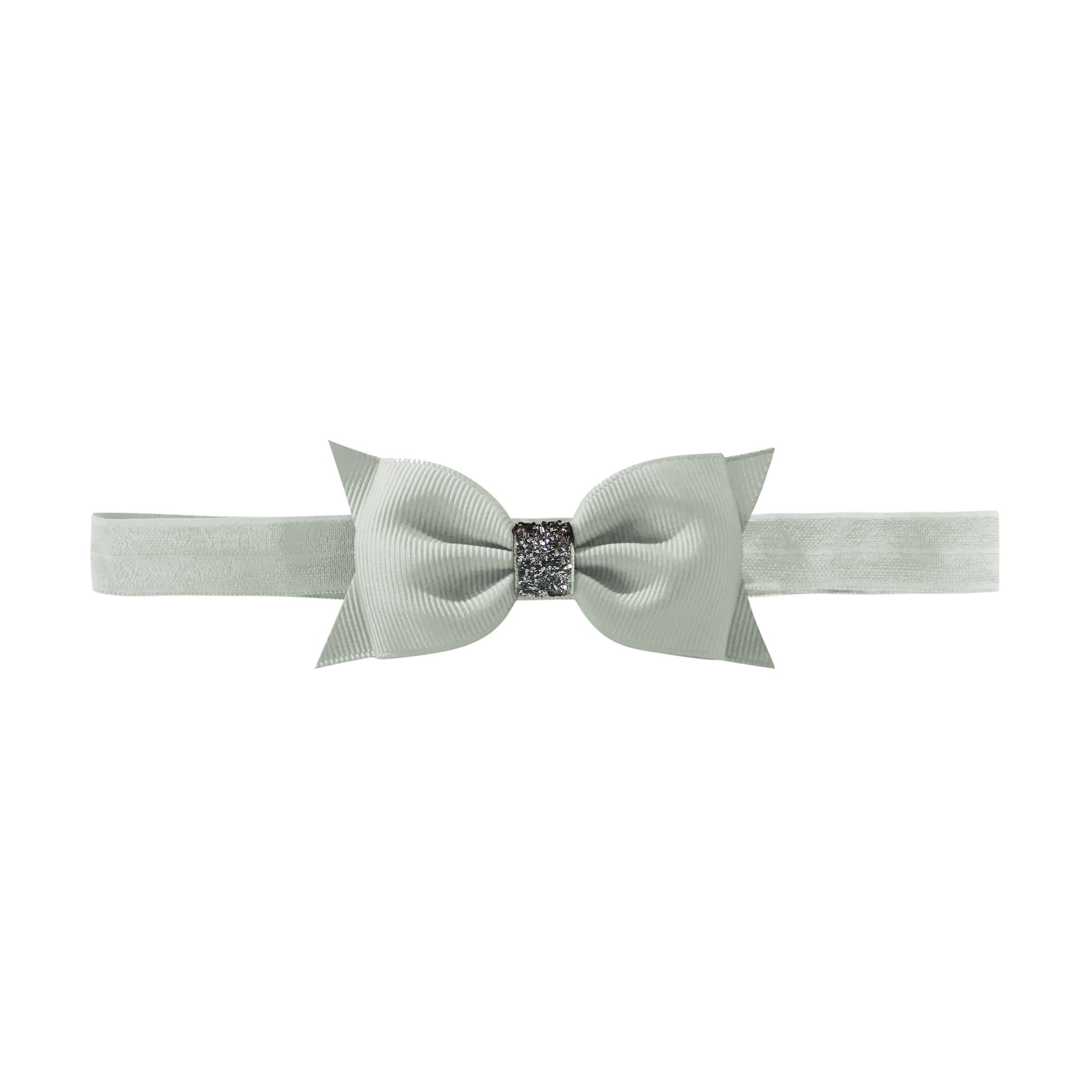 Image of   Double Bowtie bow - elastic hairband - light silver glitter