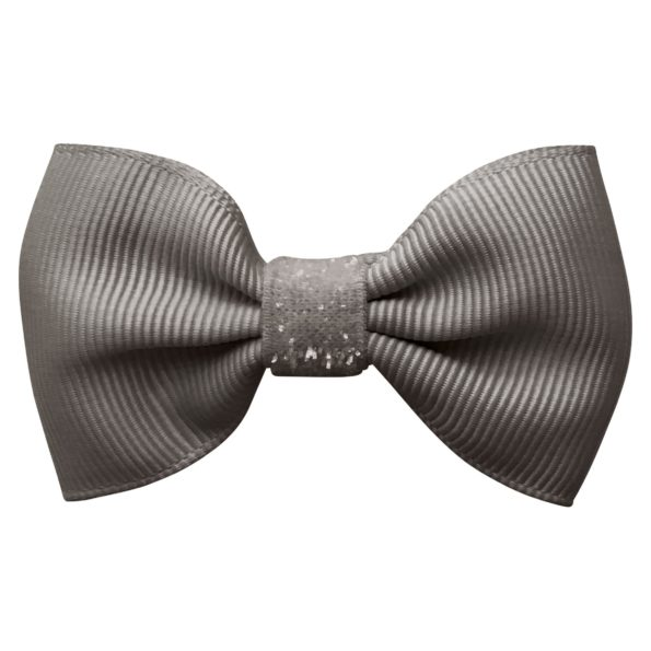 Small bowtie Milledeux bow – alligator clip – metal grey colored glitter
