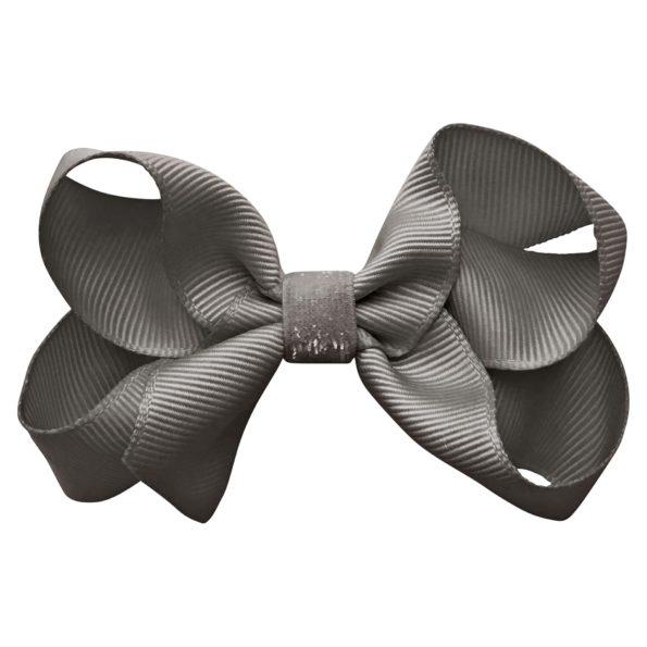 Medium boutique Milledeux bow – alligator clip – metal grey colored glitter