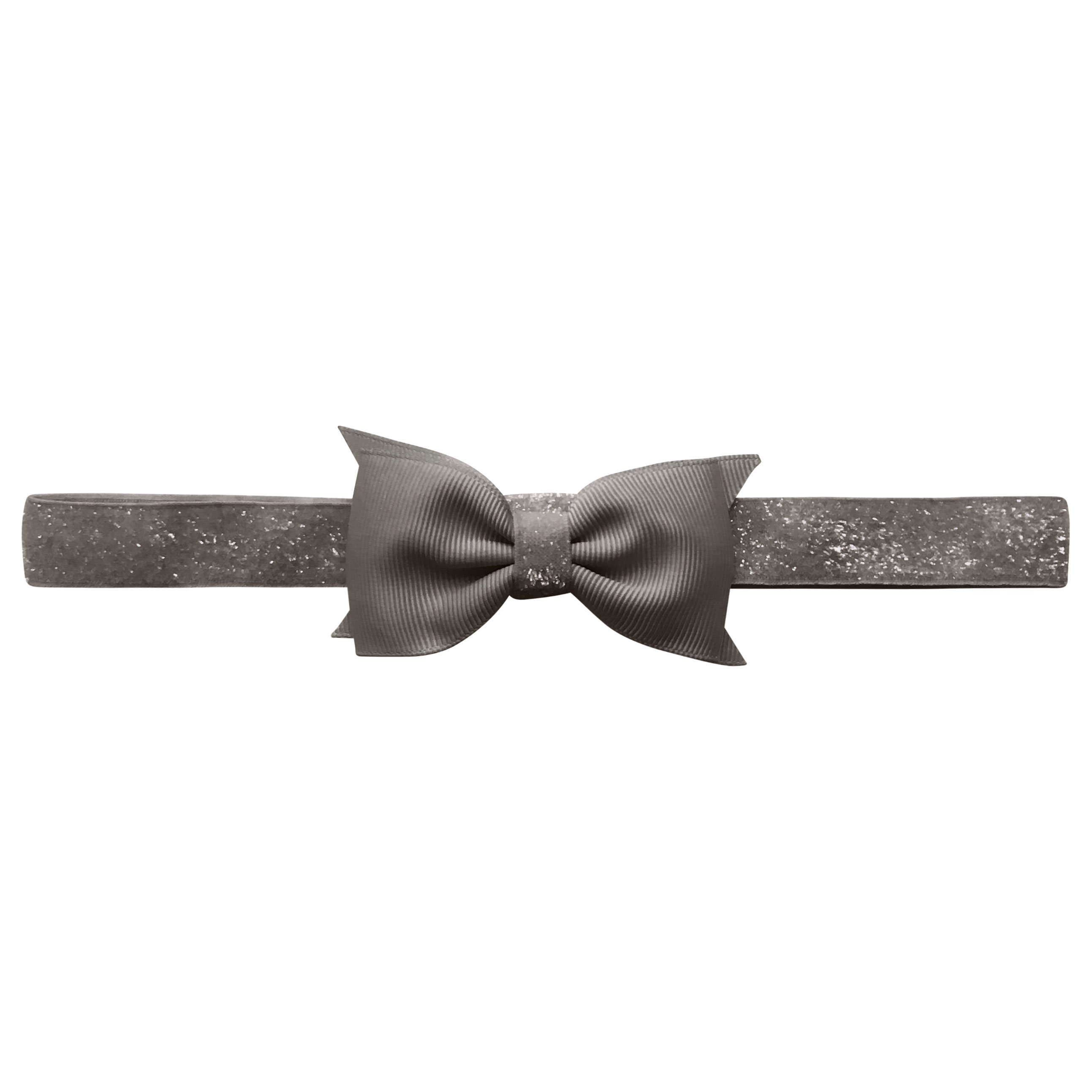 Image of   Double Bowtie Milledeux bow - elastic hairband - metal grey colored glitter