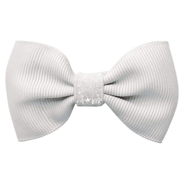 Small bowtie Milledeux bow – alligator clip – white colored glitter
