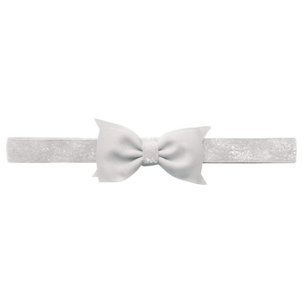 Double Bowtie Milledeux bow – elastic hairband – white colored glitter
