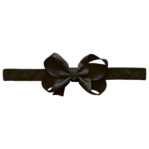 Medium boutique Milledeux bow – elastic hairband – black colored glitter