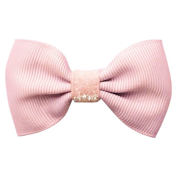 Small bowtie Milledeux bow – alligator clip – powder pink colored glitter