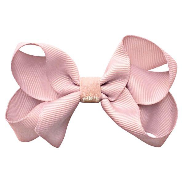 Medium boutique Milledeux bow – alligator clip – powder pink colored glitter