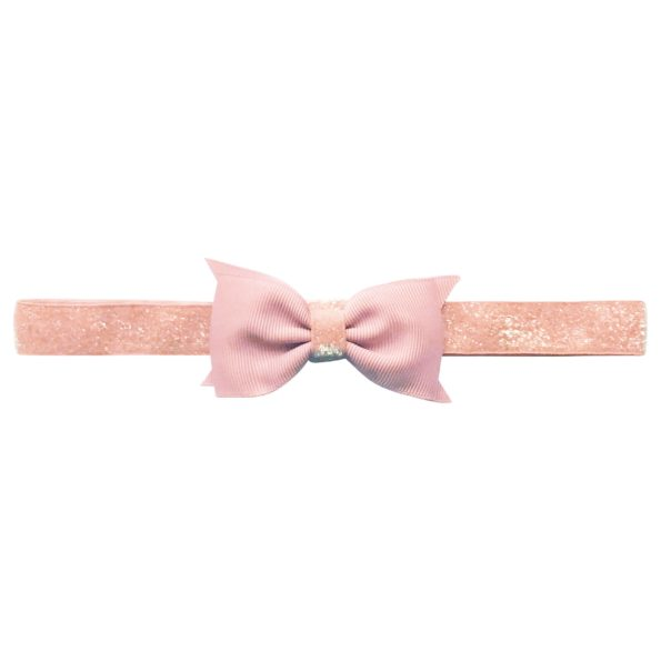 Double Bowtie Milledeux bow – elastic hairband – powder pink colored glitter