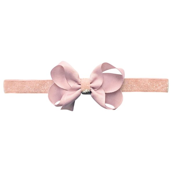 Medium boutique Milledeux bow – elastic hairband – powder pink colored glitter