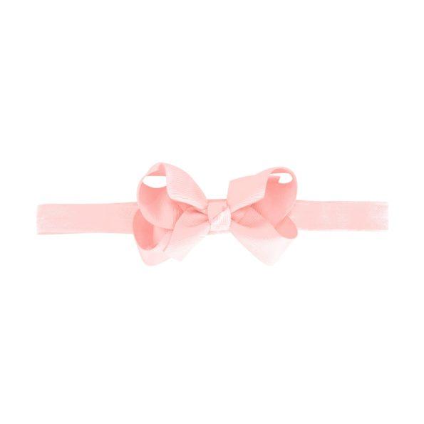 Medium boutique bow – elastic hairband – powder pink