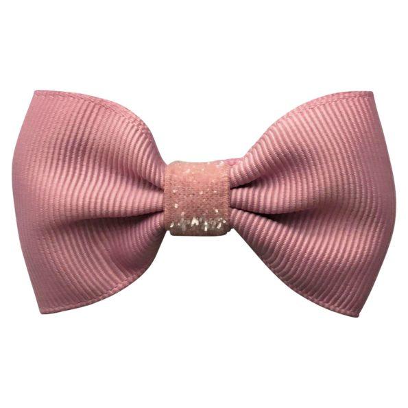 Small bowtie Milledeux bow – alligator clip – quartz colored glitter