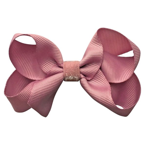 Medium boutique Milledeux bow – alligator clip – quartz colored glitter