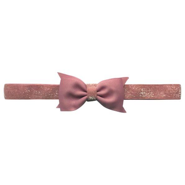 Double Bowtie Milledeux bow – elastic hairband – quartz colored glitter