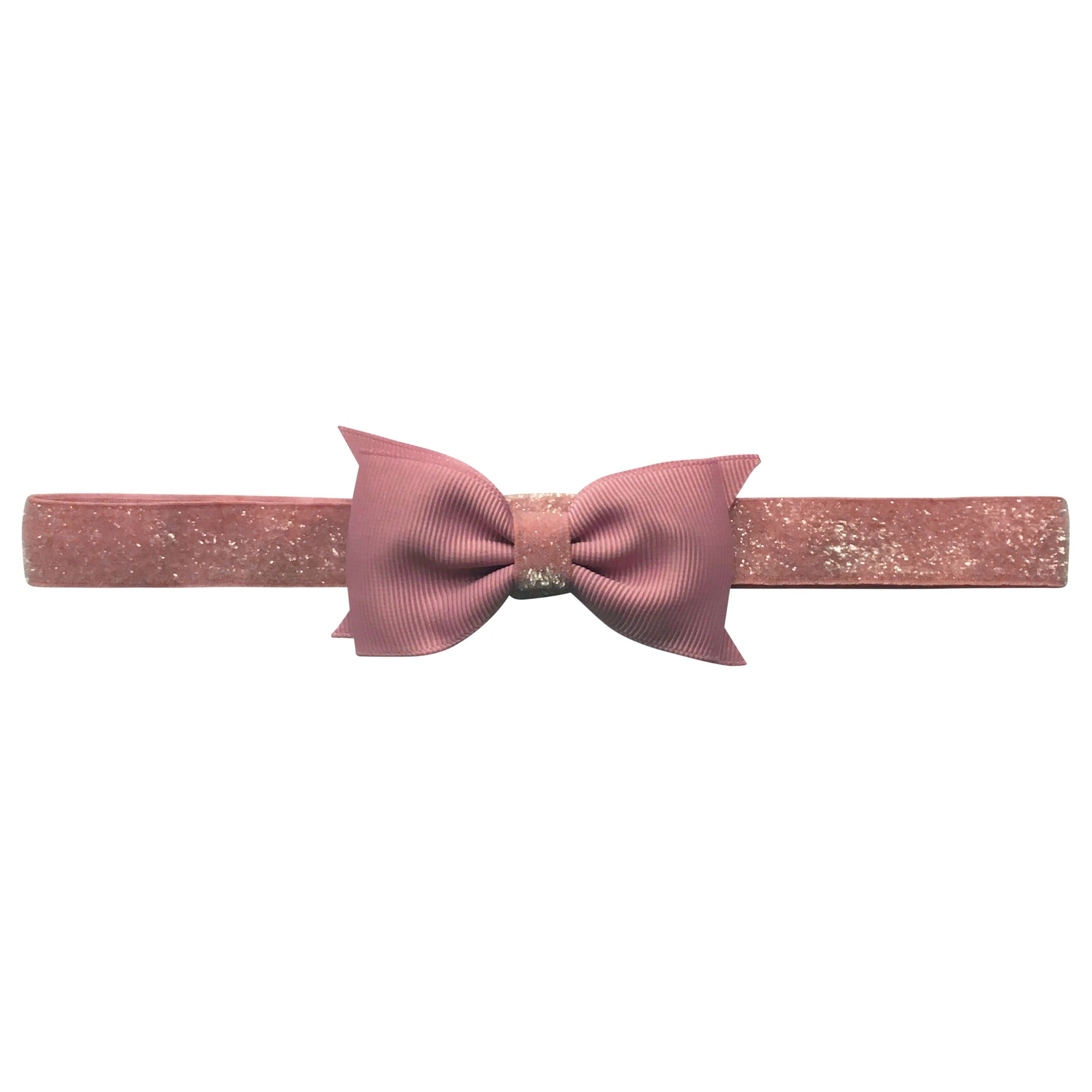Image of   Double Bowtie Milledeux bow - elastic hairband - quartz colored glitter