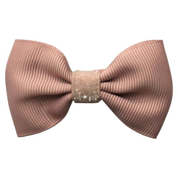 Small bowtie Milledeux bow – alligator clip – antique mauve colored glitter