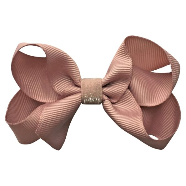 Medium boutique Milledeux bow – alligator clip – antique mauve colored glitter