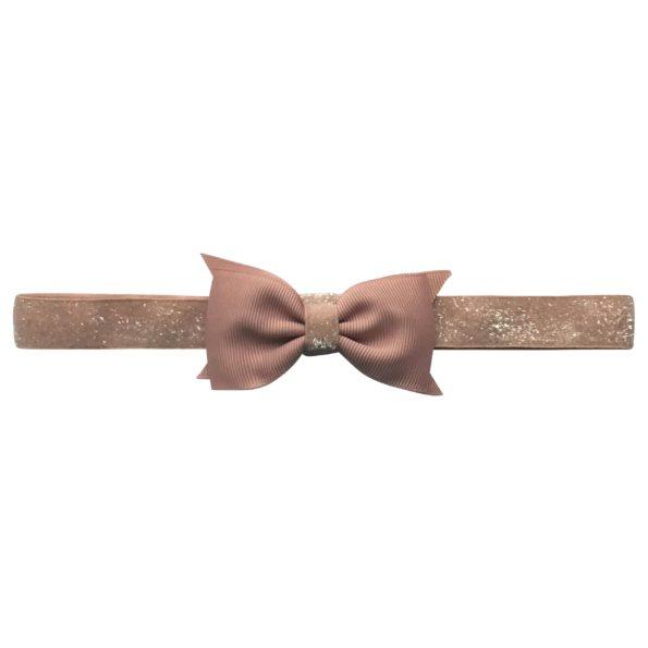 Double Bowtie Milledeux bow – elastic hairband – antique mauve colored glitter