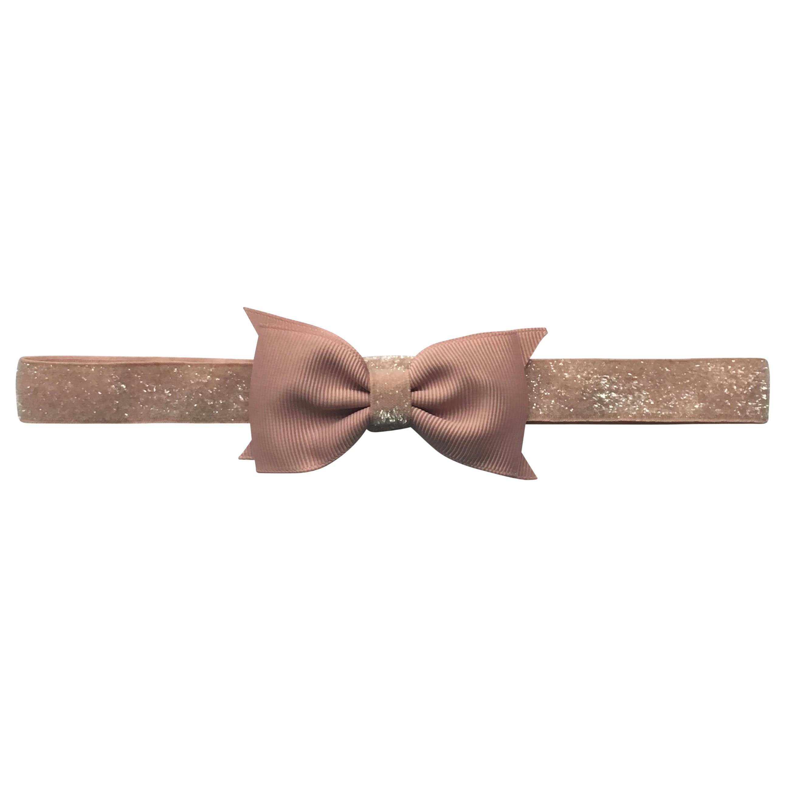 Image of   Double Bowtie Milledeux bow - elastic hairband - antique mauve colored glitter