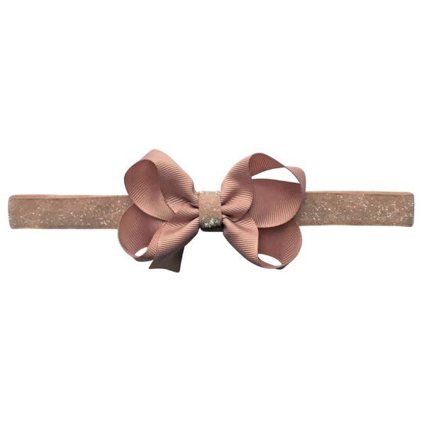 Medium boutique Milledeux bow – elastic hairband – antique mauve colored glitter
