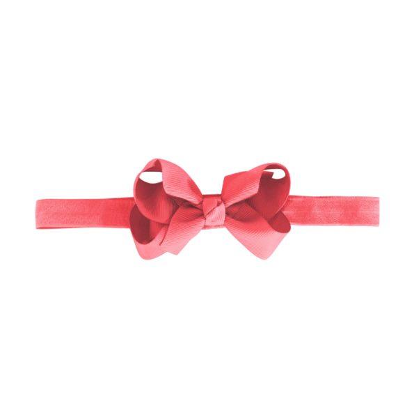 Medium boutique bow – elastic hairband – coral rose