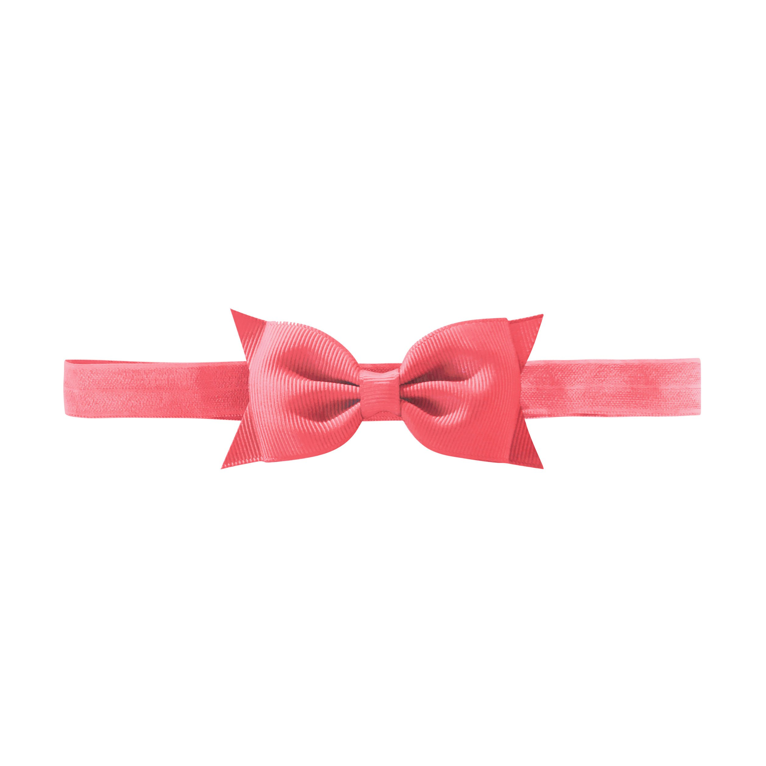 Image of Milledeux Double Bowtie bow - elastic hairband - coral rose