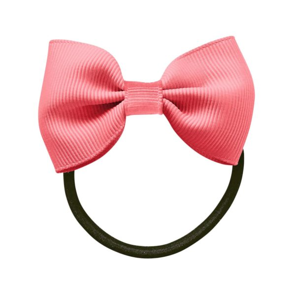 Small bowtie bow – elastic band – coral rose