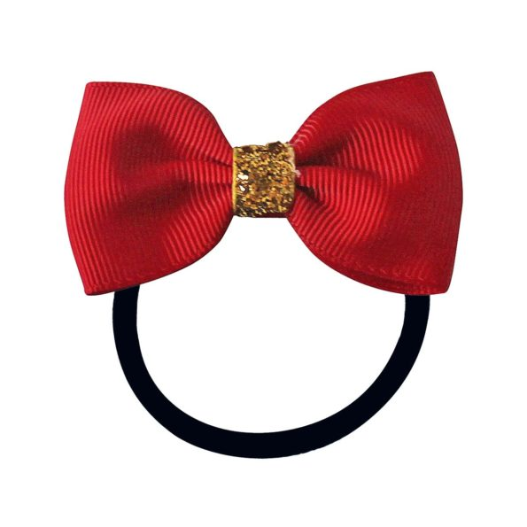 Small Milledeux bowtie bow – elastic band – scarlet christmas glitter