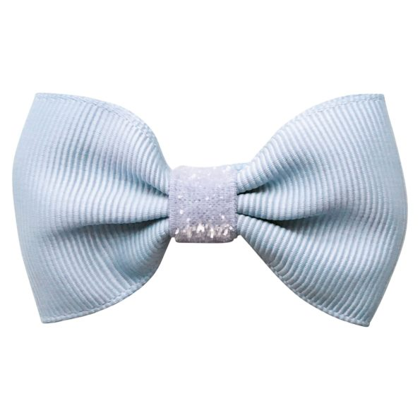 Small bowtie Milledeux bow – alligator clip – bluebell colored glitter