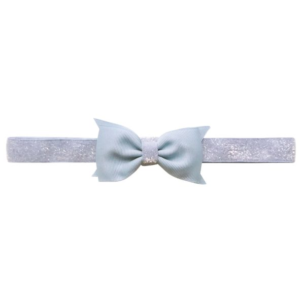 Double Bowtie Milledeux bow – elastic hairband – bluebell colored glitter