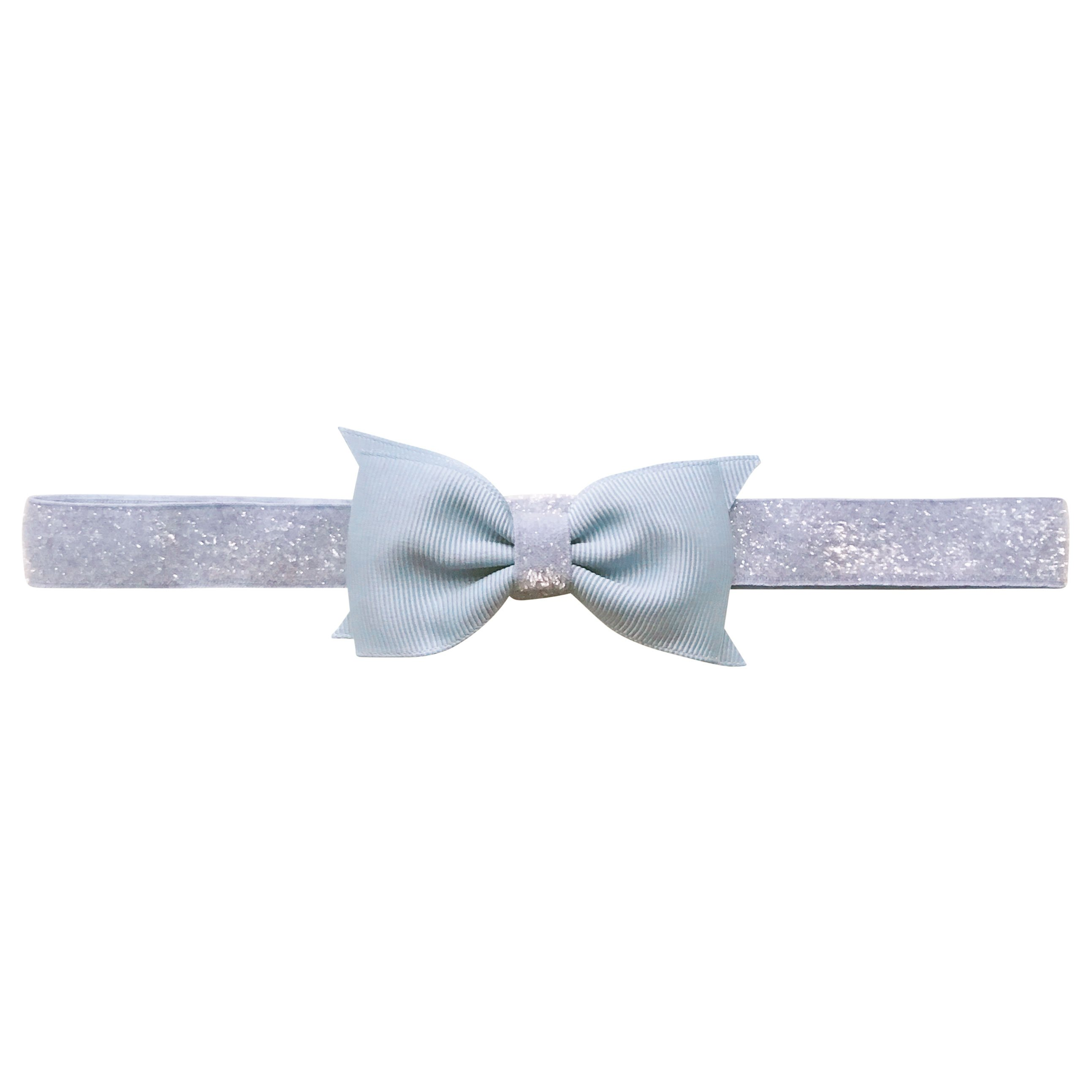 Image of   Double Bowtie Milledeux bow - elastic hairband - bluebell colored glitter