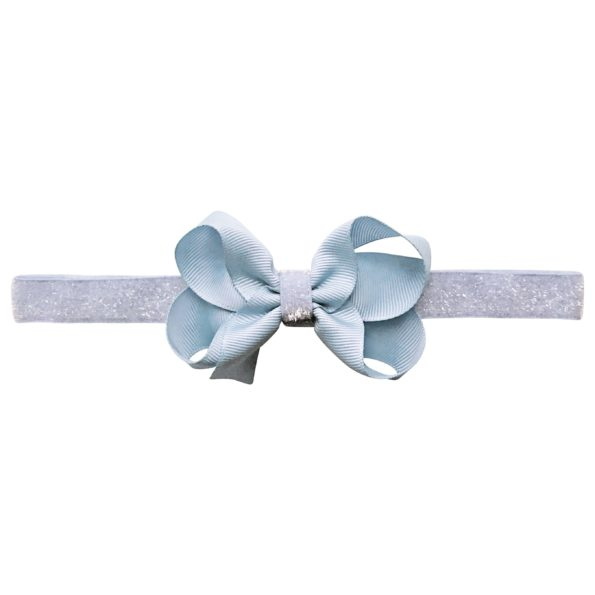 Medium boutique Milledeux bow – elastic hairband – bluebell colored glitter