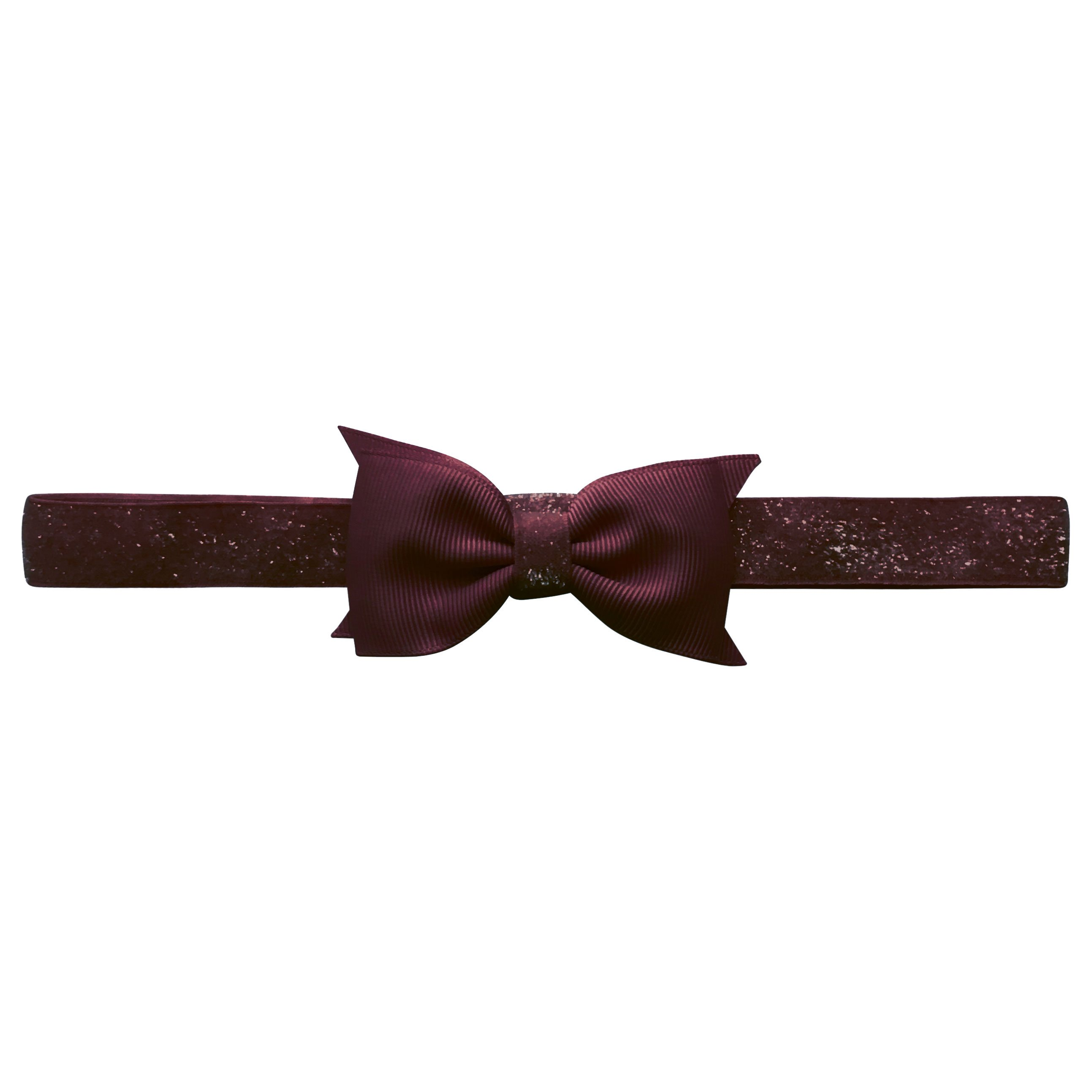 Image of   Double Bowtie Milledeux bow - elastic hairband - raisin colored glitter