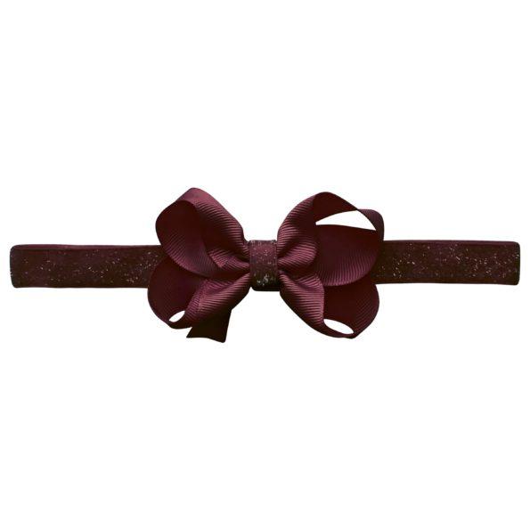 Medium boutique Milledeux bow – elastic hairband – raisin colored glitter