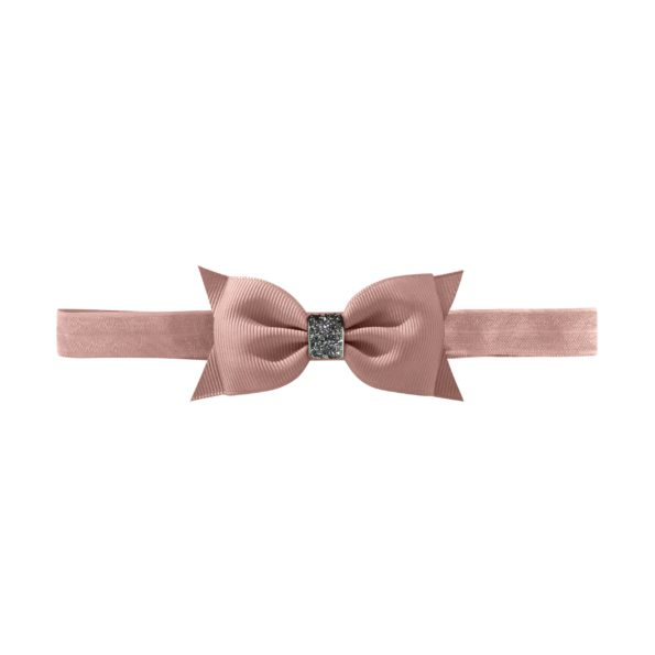 Double Bowtie bow – elastic hairband – ginger snap glitter