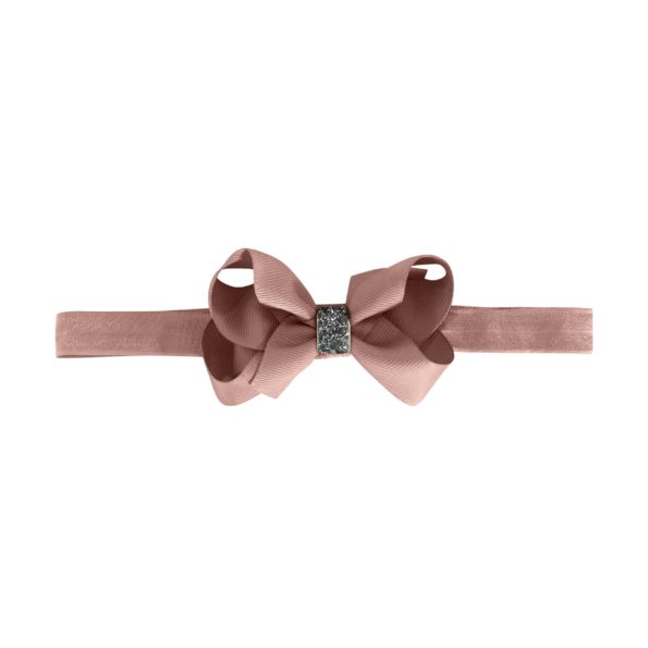 Medium boutique bow – elastic hairband – ginger snap glitter