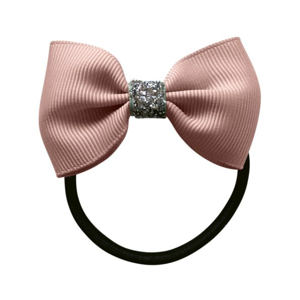 Small bowtie bow – elastic band – ginger snap glitter