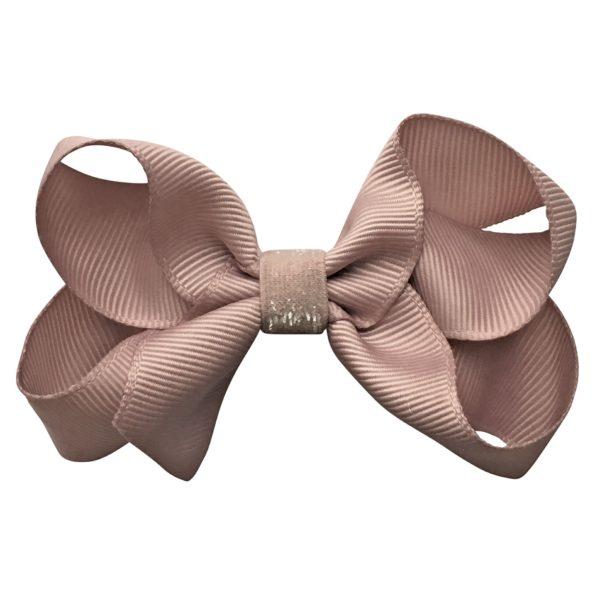 Medium boutique Milledeux bow – alligator clip – carmandy colored glitter