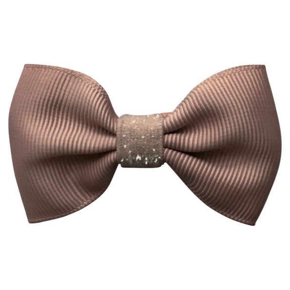 Small bowtie Milledeux bow – alligator clip – chocolate chip colored glitter