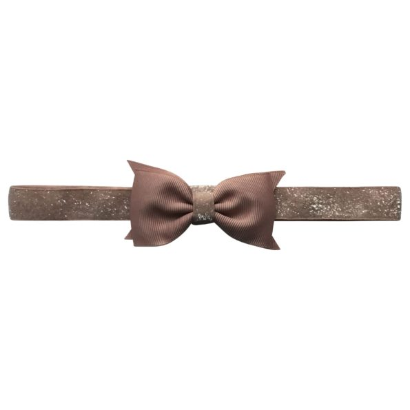 Double Bowtie Milledeux bow – elastic hairband – chocolate chip colored glitter