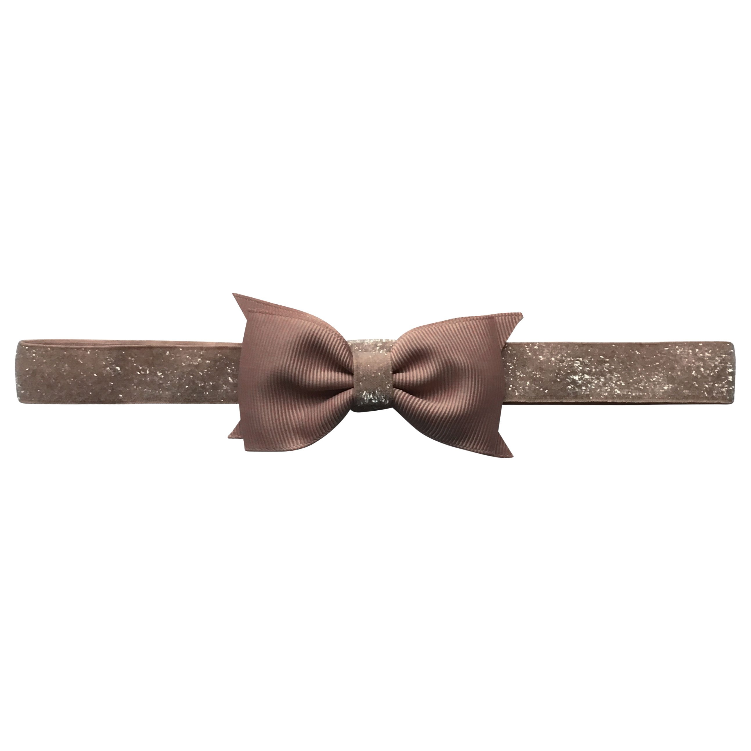 Image of   Double Bowtie Milledeux bow - elastic hairband - chocolate chip colored glitter