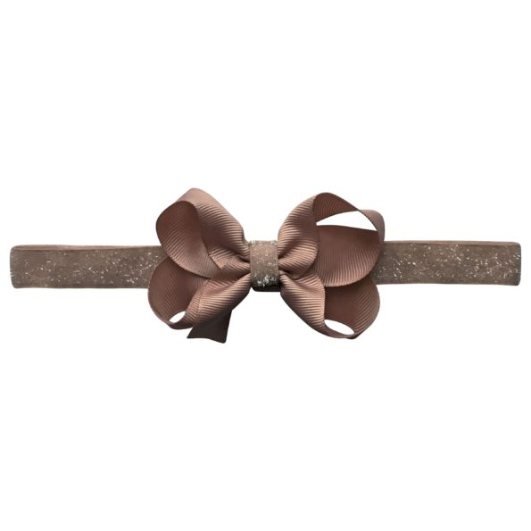 Medium boutique Milledeux bow – elastic hairband – chocolate chip colored glitter