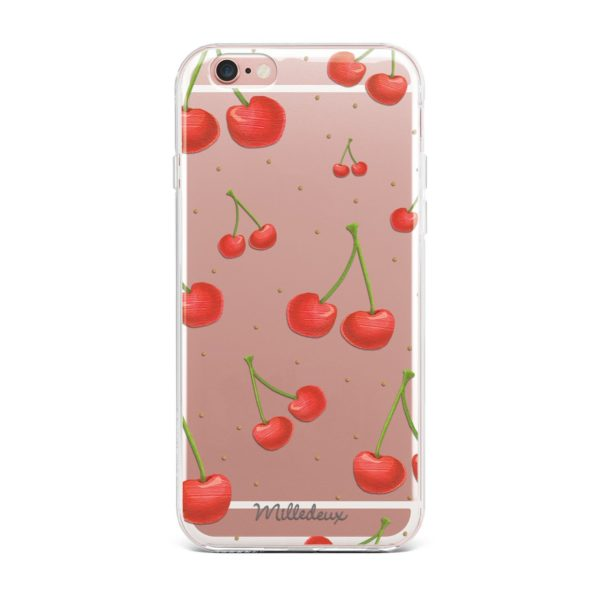 Milledeux Phone Cover – Cherries Pattern – Clear