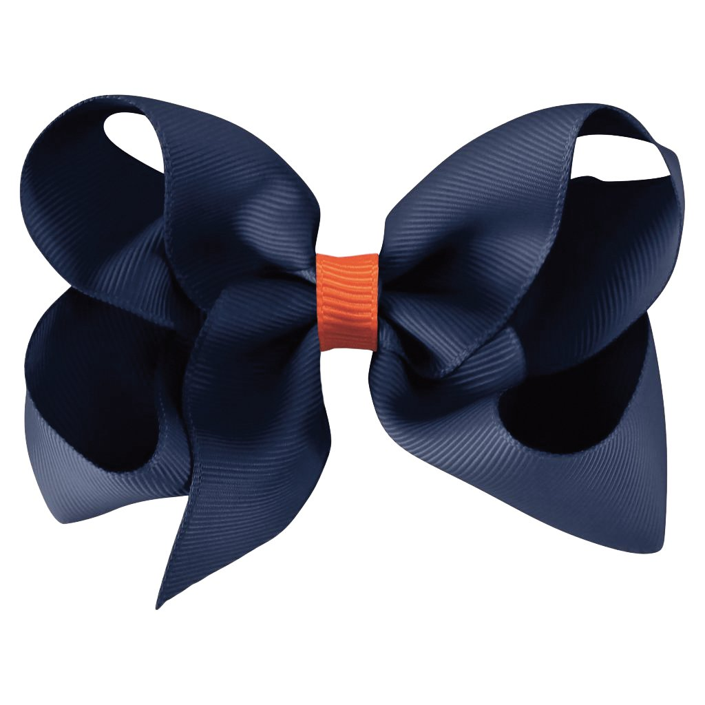 Image of   Collegiate Auburn - Jumbo Boutique Bow - alligator clip - Navy/Orange