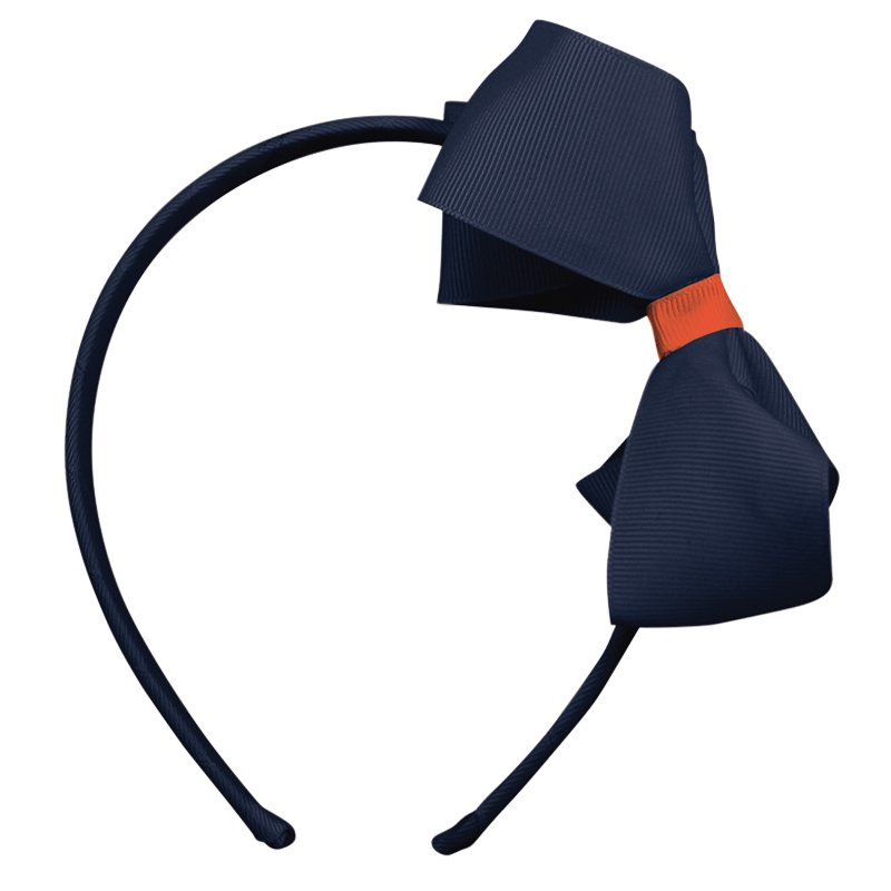 Image of   Collegiate Auburn - Large boutique bow - hairband - Navy/Orange