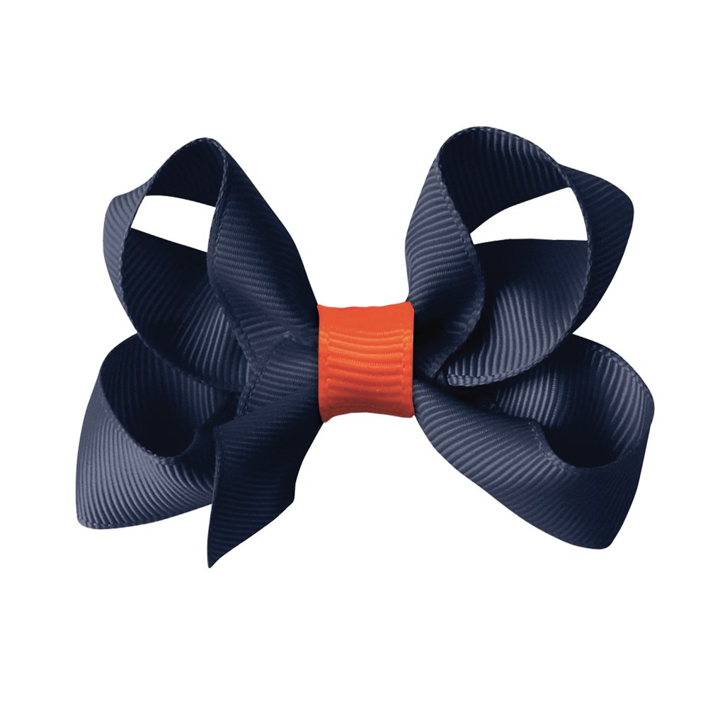 Image of   Collegiate Auburn - Medium boutique bow - alligator clip - Navy/Orange