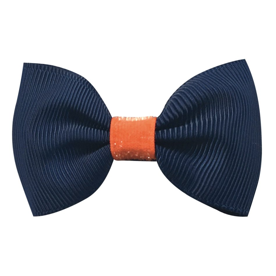 Image of   Collegiate Auburn - Small bowtie bow - alligator clip - Navy/Orange glitter