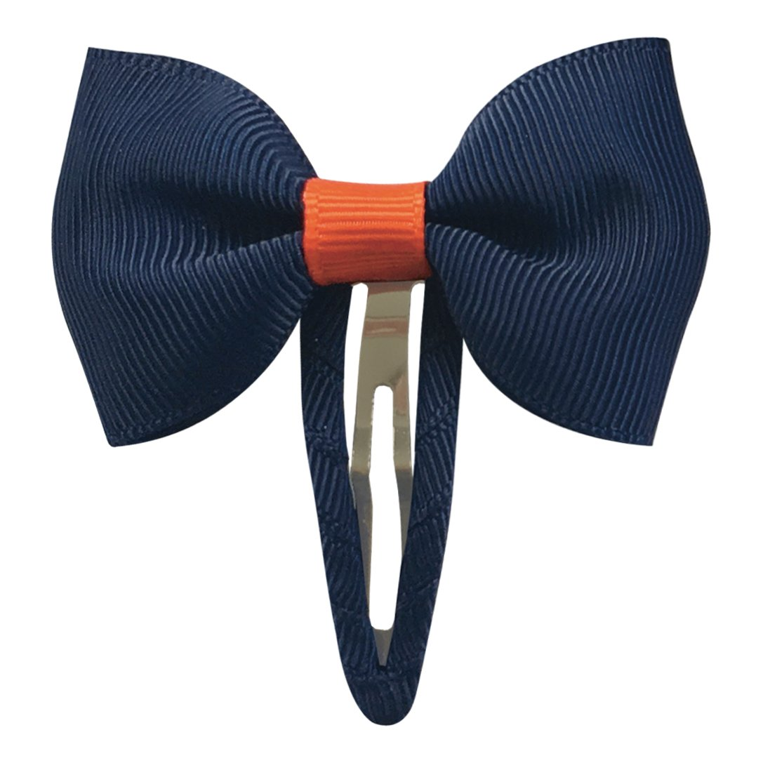 Image of   Collegiate Auburn - Small bowtie bow - snap clip - Navy/Orange