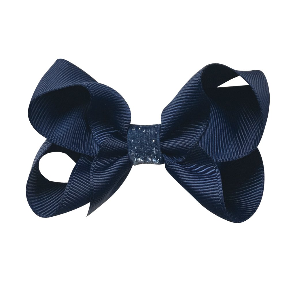 Image of   Collegiate Auburn - Medium boutique bow - alligator clip - Navy glitter