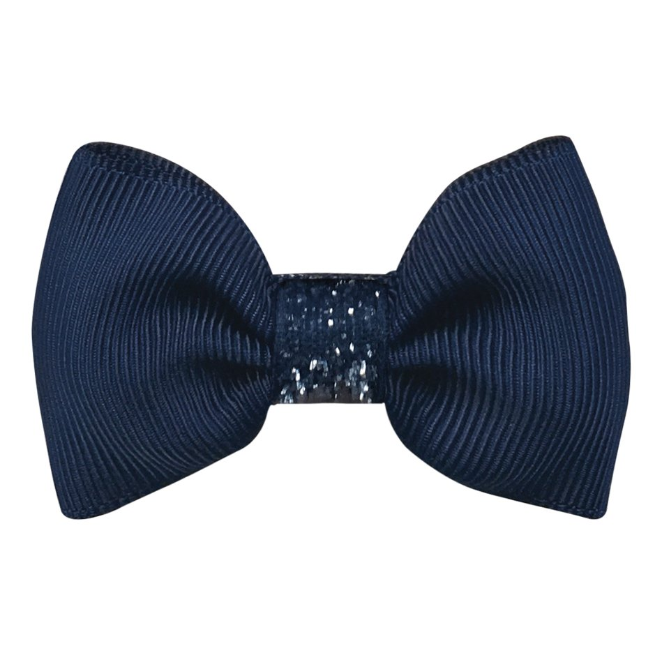 Image of   Collegiate Auburn - Small bowtie bow - alligator clip - Navy glitter