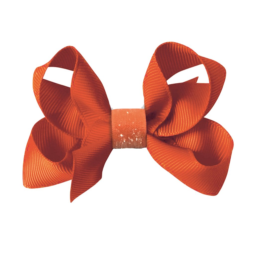 Image of   Collegiate Auburn - Medium boutique bow - alligator clip - Orange glitter