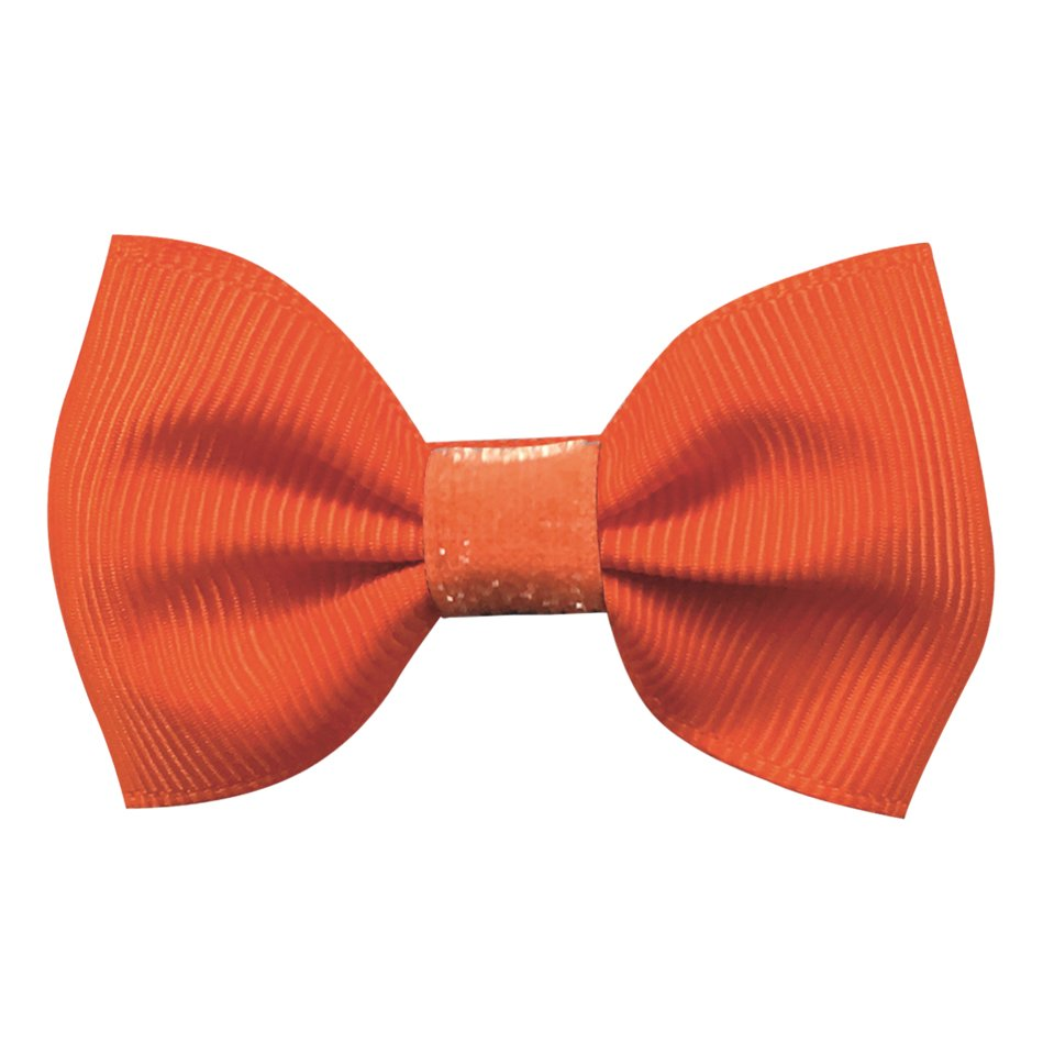 Image of   Collegiate Auburn - Small bowtie bow - alligator clip - Orange glitter