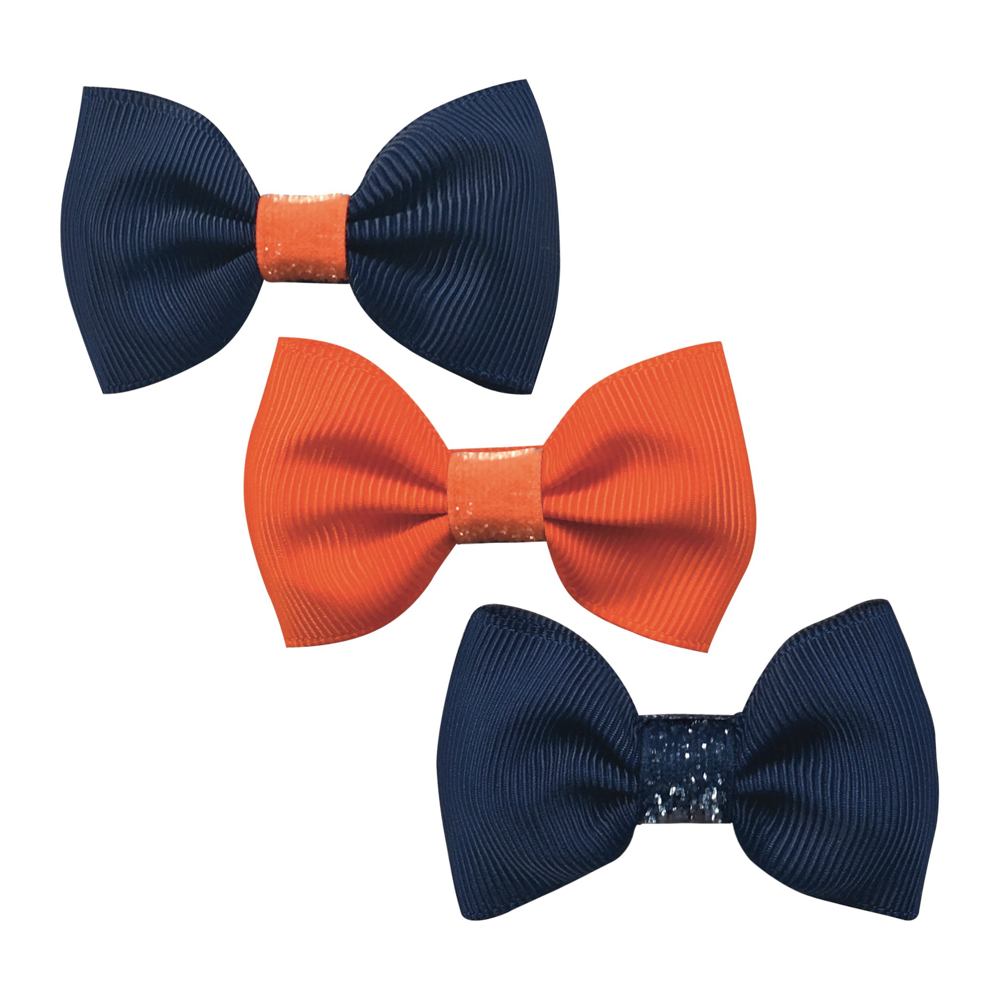 Image of   Collegiate Auburn - Small bowtie bow - alligator clip - Gift set glitter